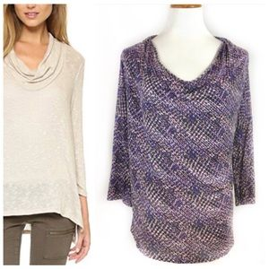 Soft Joie Ester Purple Patterned Drape Neck Top